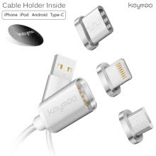 -Keymao Magnetic Phone Kabel Data Lighting Type-C Micro USB Charger  Cable 3-in-1 for Iphone Android on JD