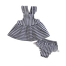 -Newborn Baby Girls Summer Sunsuit Striped Backless Dress Briefs Outfits Clothes on JD