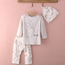 -UK Stock Infant Baby Girl Bunny Cotton Tops Pants Hat Home Outfits Set Clothes on JD