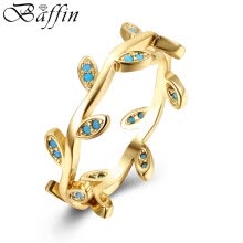 band-rings-BAFFIN Bohemian Gold Plated Leaves Shaped Rings for Woman Simulated Kallaite Jewelry For Women Finger Rings on JD