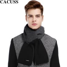 -CACUSS W0039 pure wool simple scarf men's double spell wool scarves men winter scarves gift box Korean black One Size on JD