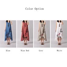 -New fashion summer style cotton linen vintage printed women casual loose long dress Party Gown on JD