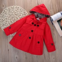tops-tees-Kids Girls Hooded Winter Clothes Fleece Outerwear Long Trench Wind Coat Jacket on JD