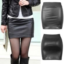 -Sexy Women PU Leather High Waist Lace Up Pencil Bodycon Skirt Mini Dress Elastic on JD