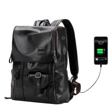 d12c99af5d Men Fashion External USB Charge Antitheft Backpack Waterproof Leather  Travel Bag Notebook Rucksack for 14 Inch Laptop Mochilas