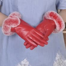 875062531-Ms. winter sheep skin leather gloves warm on JD