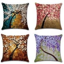 87502-Oil Painting Trees and Flower Pillow Covers 18 x 18 Inch Cotton Linen Sofa Home Decor Throw Pillow Case Cushion Covers on JD