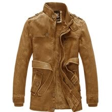 -Fashion Men's leather jackets brand men standing collar and long sections Slim washed velvet coat locomotive Piga on JD