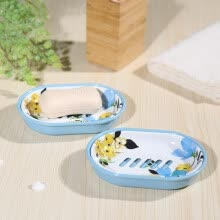 bathroom-supplies-A Ting Flower Printing Melamine Soap Holder, Set of 2 on JD