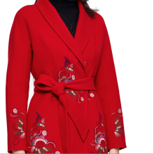 875061834-Pig-weed flowers flowers pattern embroidered red wool overcoat on JD