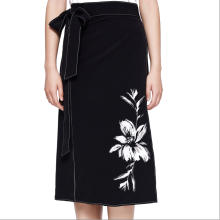 skirts-Lily pattern black band half skirt on JD