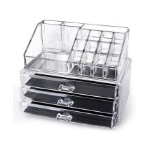 -Large 3 Drawer Jewerly Chest or makeup storage ideas Case Lipstick Liner Brush Holder make up boxes Organizer measures on JD