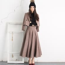 -Weiya Ji original autumn and winter coat tweed stripes vintage woolen two-piece suit on JD