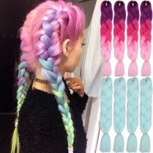 Aisi Hair Ombre Kanekalon Braiding Extensions 24inch 100g Synthetic Jumbo Braids Fiber Pink Purple Blue Green 1pce