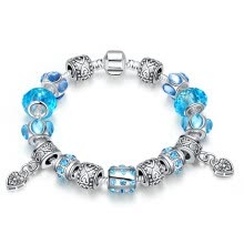 -925 Sterling Sliver Field of Daisies Murano Glass European Charms Beads Fits Style Bracelets Women wristband Romantic  Hearts Pend on JD